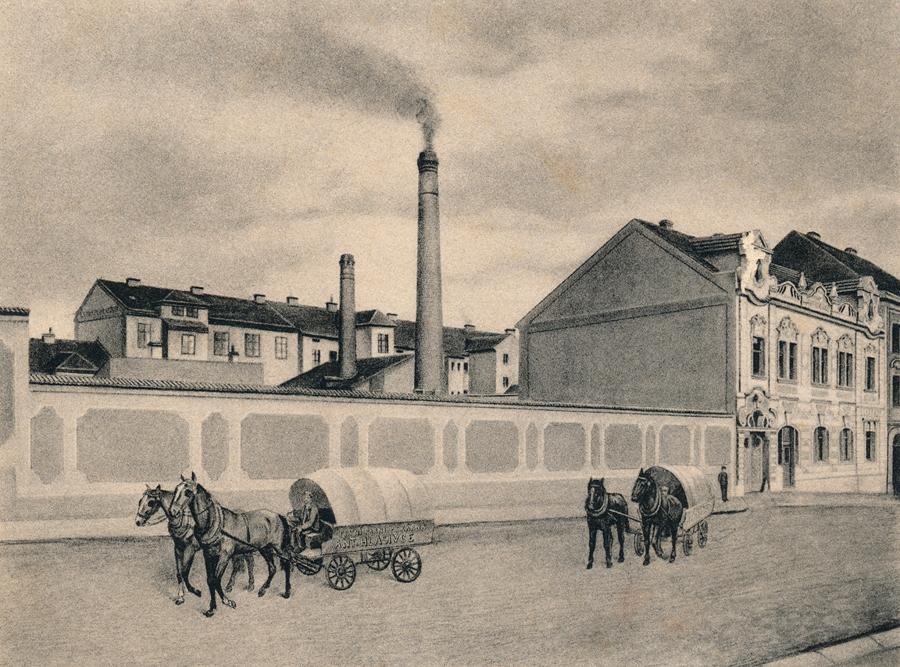 První parní pekárna Antonína Hlasivce kolem roku 1905. Pohled z tehdejší Libušiny ulice, současné Marie Cibulkové.