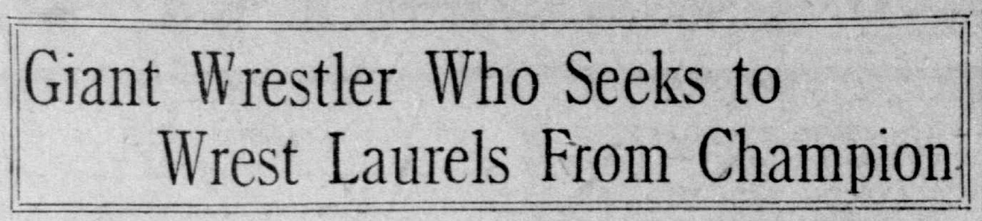 Novinový titulek z The San Francisco Call představuje Šmekala coby vyzyvatele Franka Gotche.