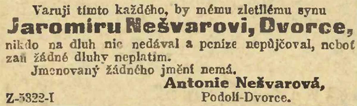 Inzerát Antonie Nešvarové