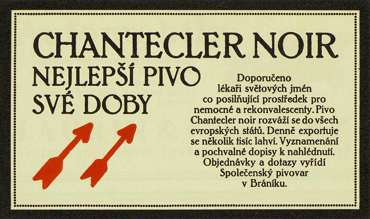 Dobový inzerát branického pivovaru. (Typografia, 1912)