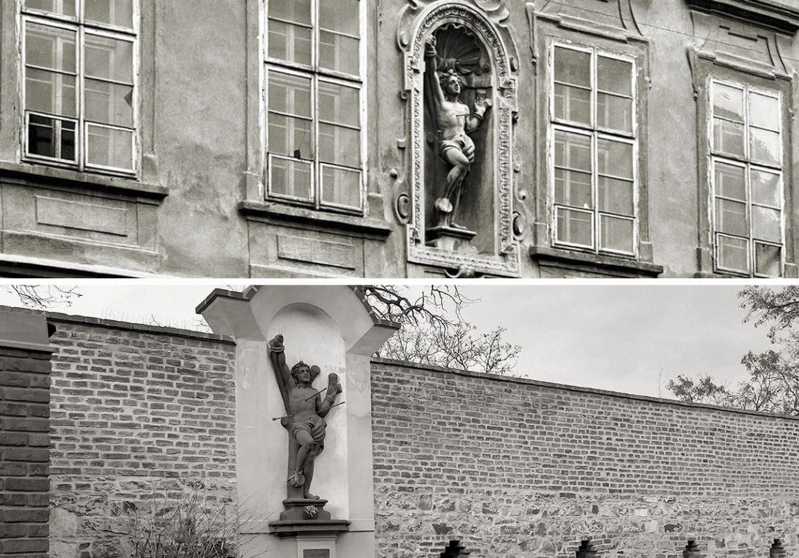 Sv. Šebestián v průčelí domu u Harantů a na svém současném vyšehradském stanovišti.
