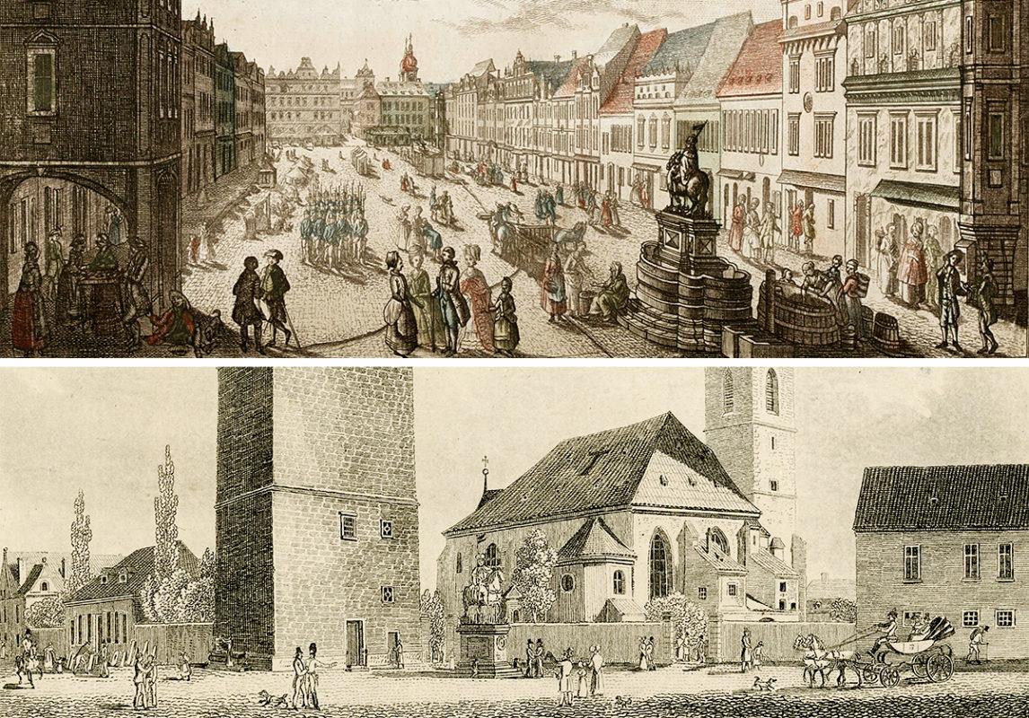 Bendlův sv. Václav na Koňském trhu a před Jindřišskou věží.