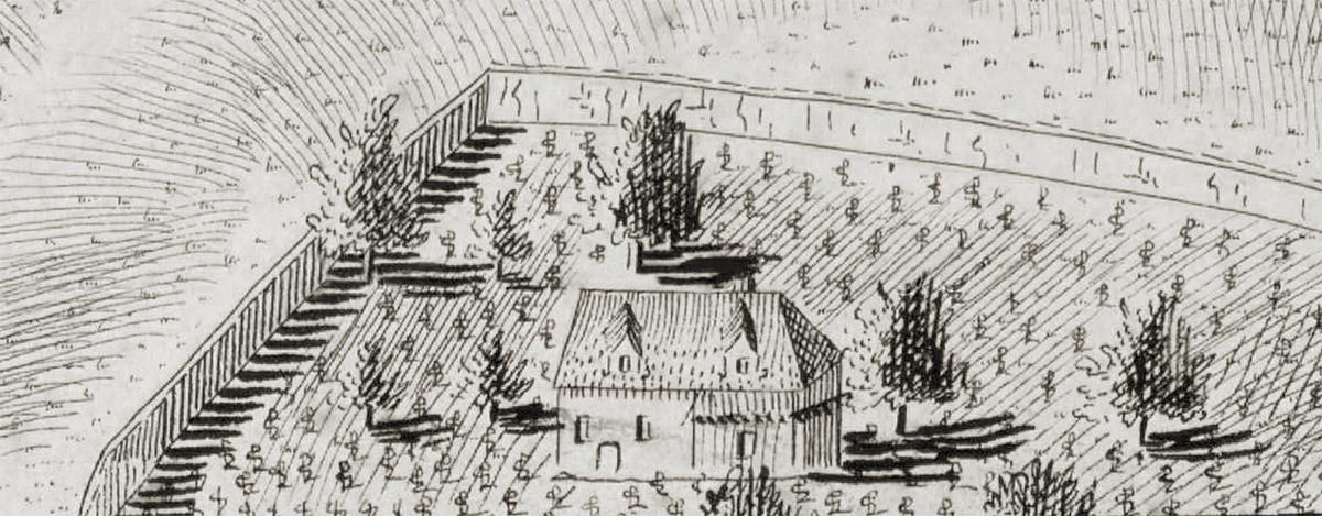 Usedlost Bučanka na Huberově perspektivním plánu Prahy z roku 1769.