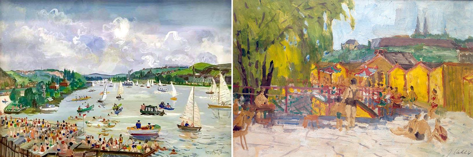 Mejzlíkova plovárna na obrazech Jaromíra Jindry a Jindřicha Stehlíka z 50. let.