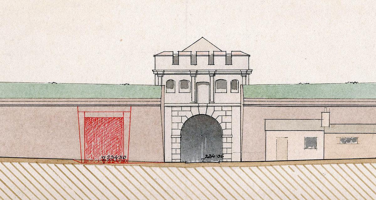 Plán průlomu Táborskou branou pro tramvajovou trať