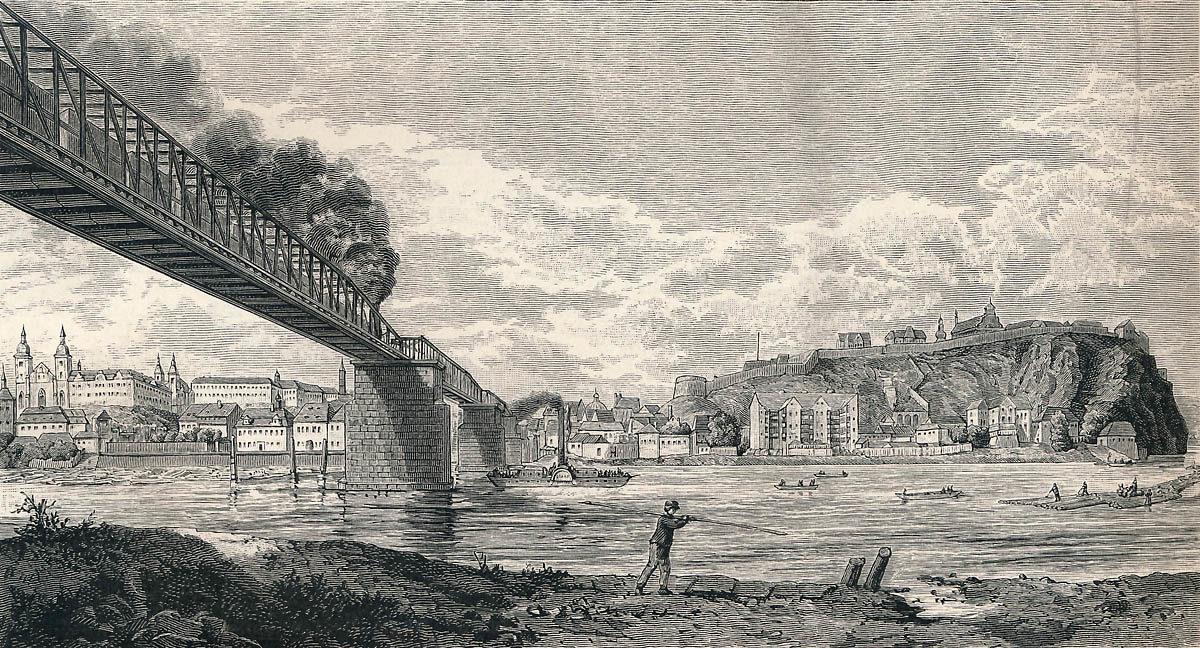 Původní Železniční most pod Vyšehradem