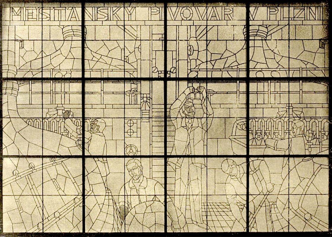 Černý pivovar - vitráž Aloise Bílka