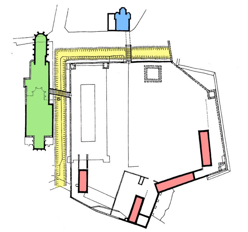 Vyšehradská akropole s bazilikou sv. Vavřince