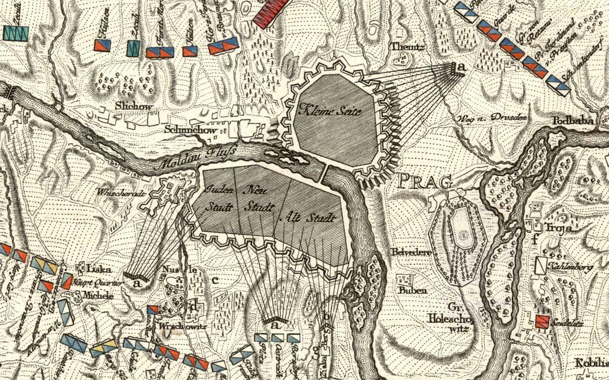 Plán obléhání Prahy v roce 1757 na výřezu z Wendlerova mědirytu