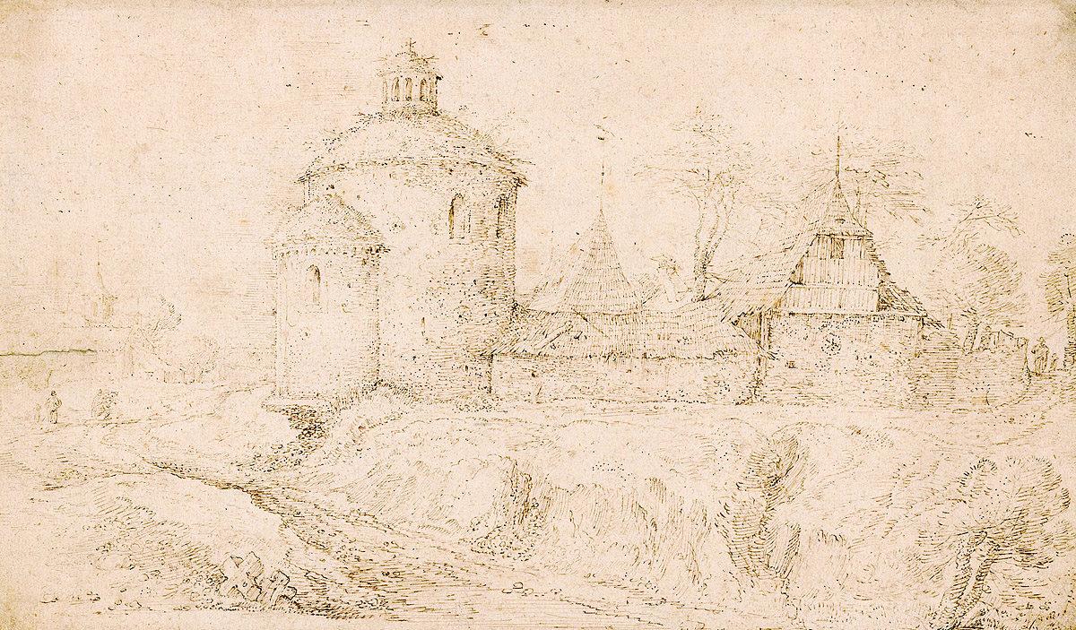Vyšehradská rotunda sv. Martina na kresbě Roelandta Saveryho