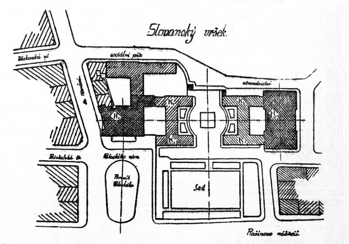 Monolit pod Emauzy - projekt Bohumila Hypšmana