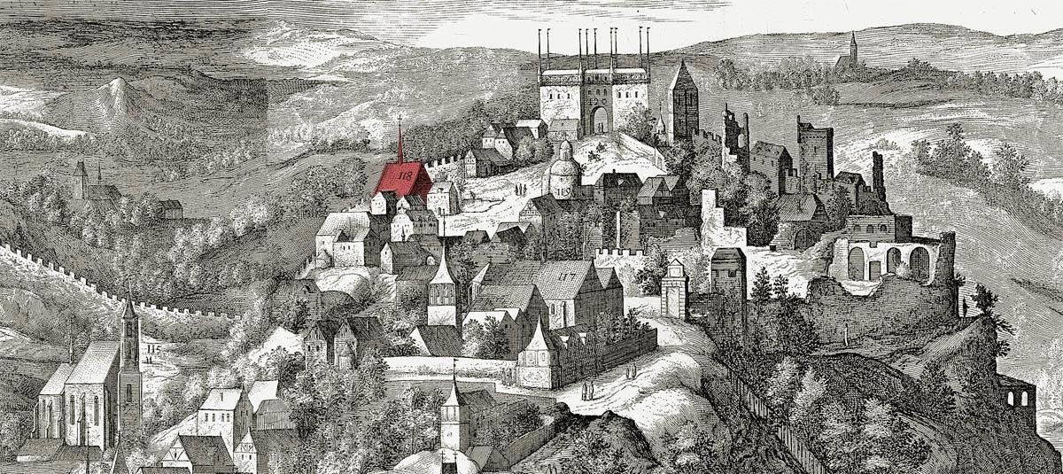 Sadelerův prospekt - kostel Stětí sv. Jana na Vyšehradě