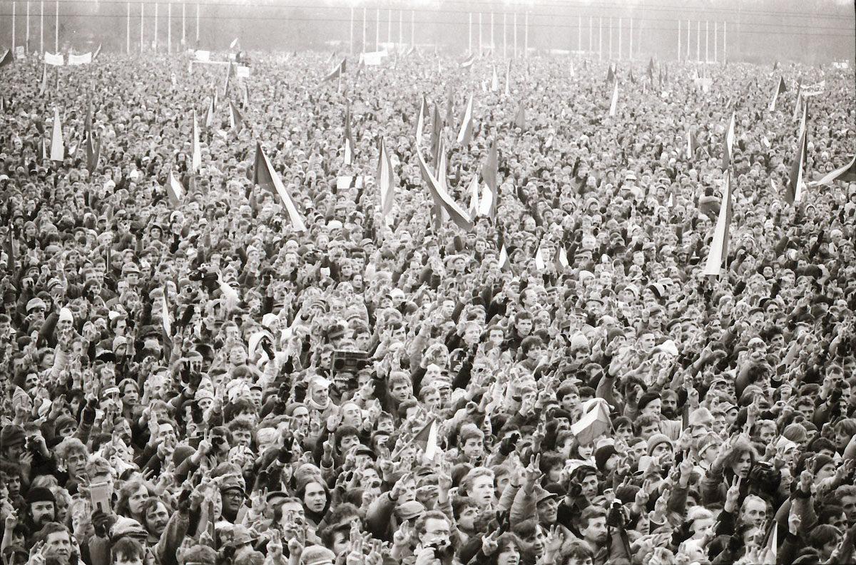 Sametová revoluce - demonstrace na Letenské pláni