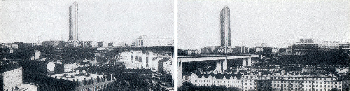 Původní návrh Hotelu Forum s výškou 155 metrů