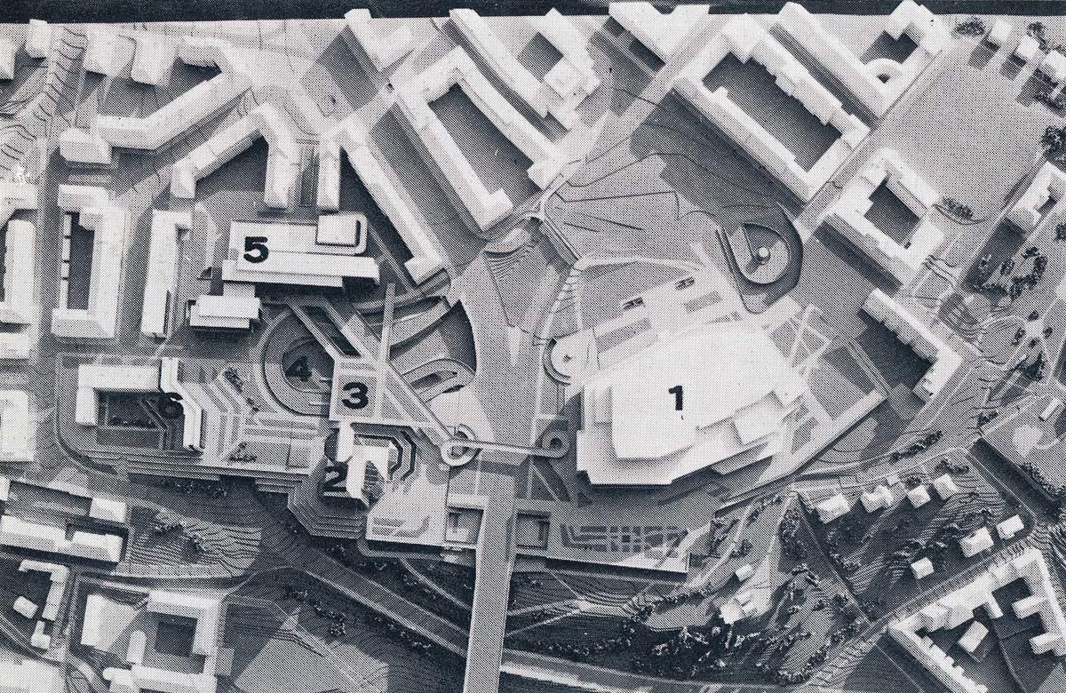 Model pankráckého předpolí Nuselského mostu s Hotelem Forum