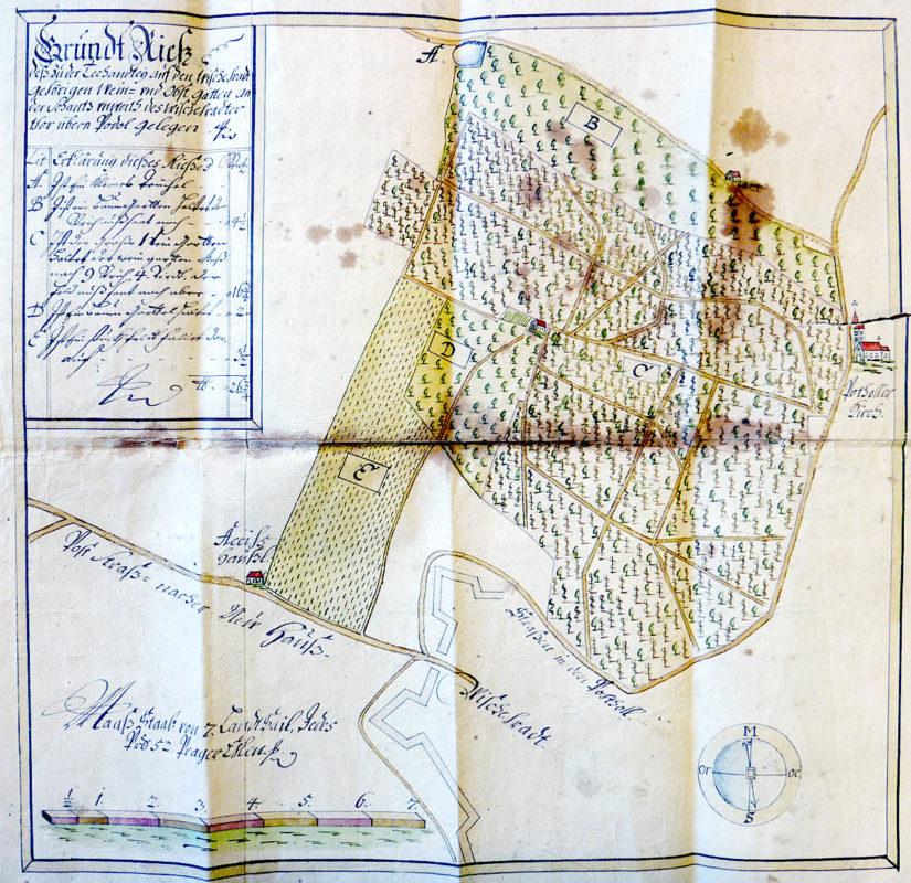 Mapa vyšehradských vinic směrem k Podolí