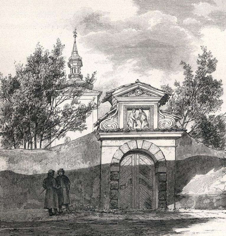 Zrušený postranní vchod na Vyšehradský hřbitov
