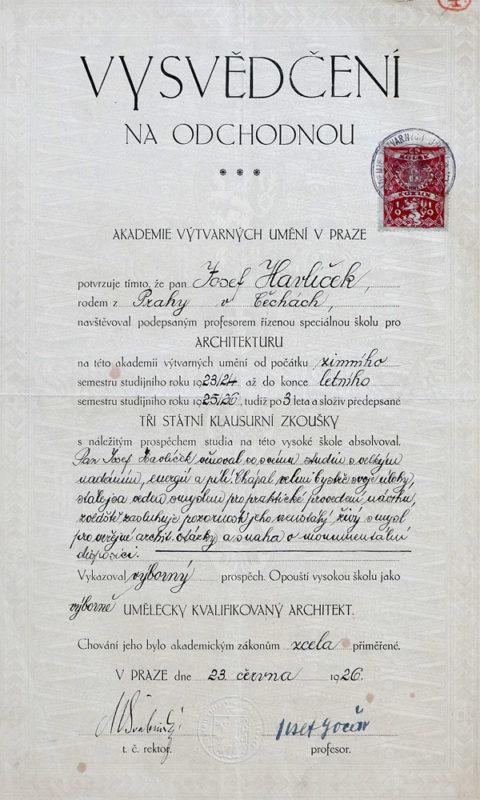 Josef Havlíček – Závěrečné vysvědčení na Akademii výtvarných umění
