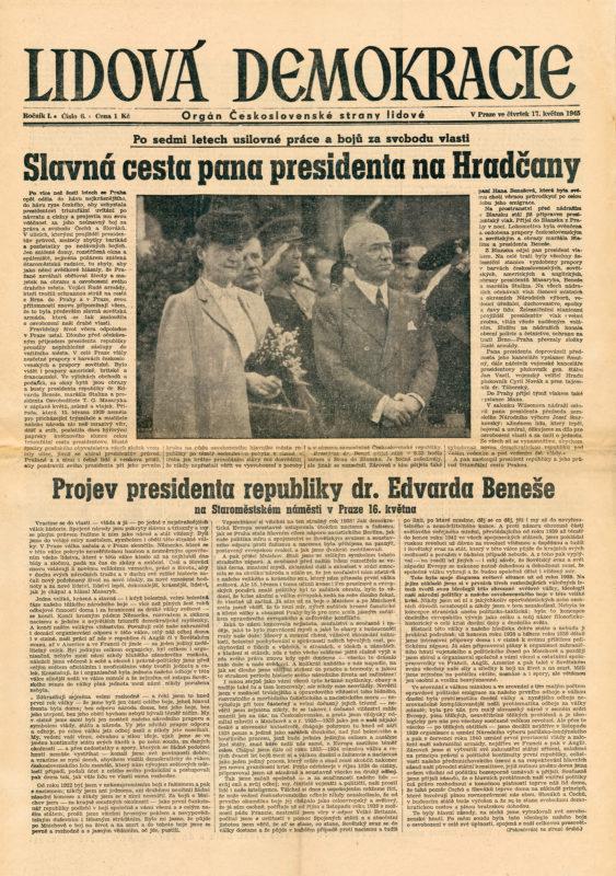 Noviny - Návrat prezidenta Edvarda Beneše do Prahy