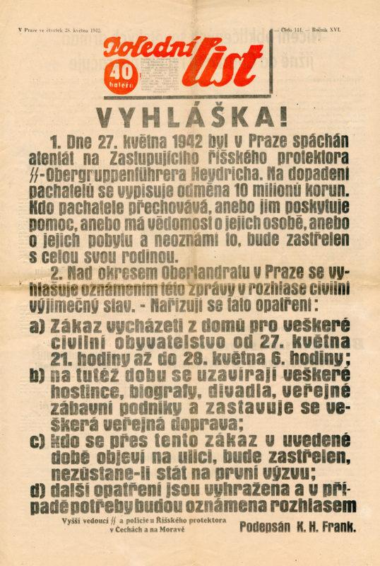Noviny – Atentát na zastupujícího říšského protektora Reinharda Heydricha