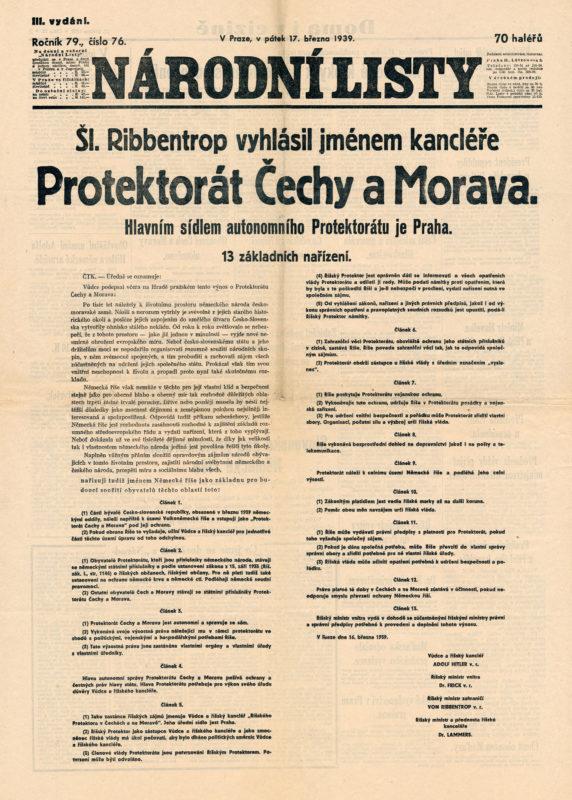 Noviny - Vyhlášení Protektorátu Čechy a Morava