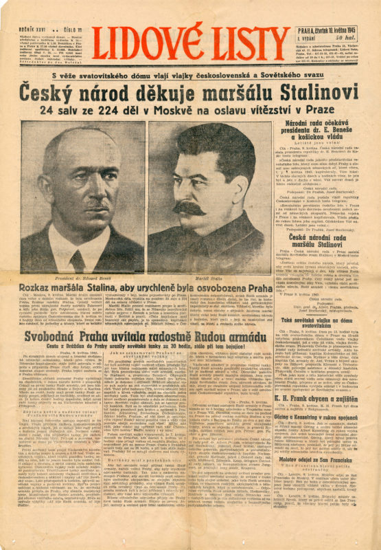 Noviny – Příjezd Rudé armády do Prahy