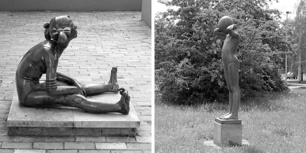 Dvě sochy Jaroslava Hladkého – Unavená a Malá plavkyně