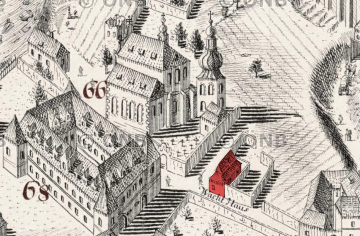 Vojenská strážnice na Vyšehradě na Huberově perspektivním plánu Prahy