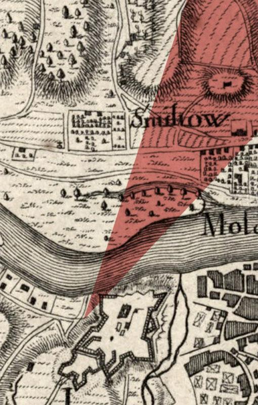 Vyznačený směr pohledu na mapě Prahy z roku 1742