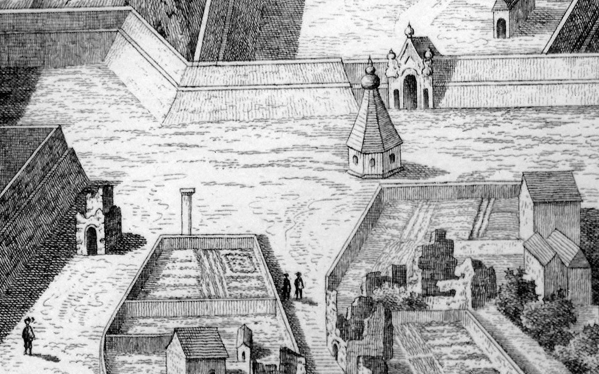 Vyšehradský morový sloup na grafice Folperta van Ouden Allena