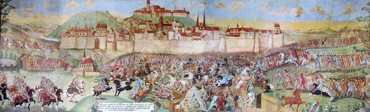 Freska bitvy pod Vyšehradem na zámku v Horažďovicích