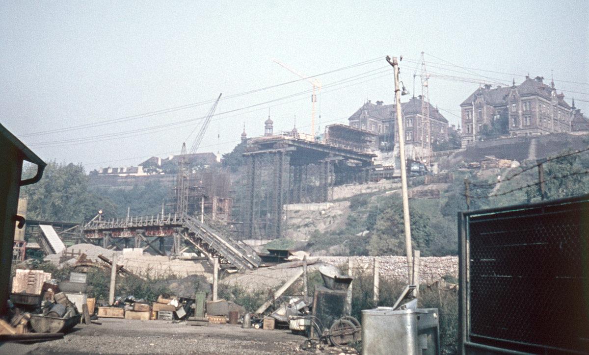 Folimanka během stavby Nuselského mostu, 1968