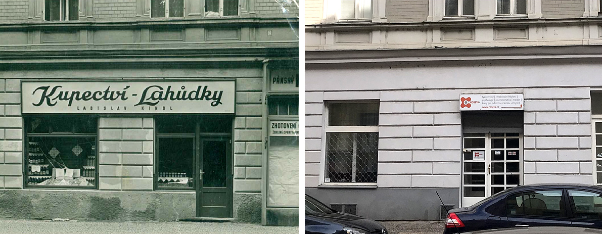 Oldřichova ulice - obchod Ladislava Kindla